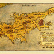 Map Of Cyprus 1562 Art Print
