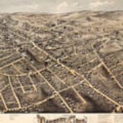 Map Of Danbury 1875 Art Print
