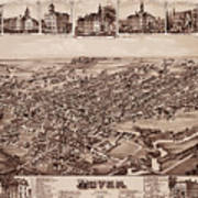Map Of Dover 1885 Art Print