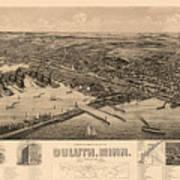 Map Of Duluth 1893 Art Print