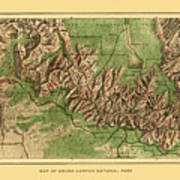 Map Of Grand Canyon 1926 Art Print