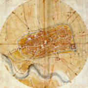 Map Of Imola 1502 Art Print