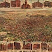 Map Of Los Angeles 1891 Art Print