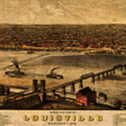 Map Of Louisville Kentucky Vintage Birds Eye View Aerial Schematic On Old Distressed Canvas Art Print