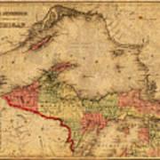 Map Of Michigan Upper Peninsula And Lake Superior Vintage Circa 1873 On Worn Distressed Canvas  Art Print