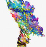 Map Of Moldova-colorful Art Print