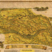 Map Of Nebraska 1954 Omaha Cornhusker State Aerial View Illustration Cartography On Worn Canvas Art Print