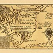 Map Of Newfoundland 1625 Art Print