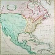 Map Of North America Art Print by English School