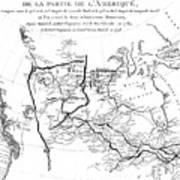 Map Of North America, Plotting The Expeditions Of Sir Alexander Mackenzie In 1789 And 1798 To The Ar Art Print