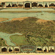 Map Of Oakland 1900 Art Print