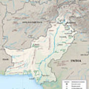 Map Of Pakistan2  Art Print