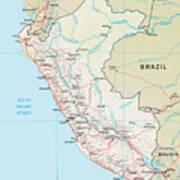 Map Of Peru 2 Art Print