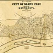 Map Of Saint Paul 1852 Art Print