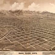 Map Of Salt Lake City 1875 Art Print