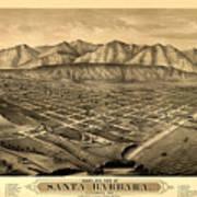 Map Of Santa Barbara 1877 Art Print