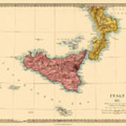 Map Of Sicily 1875 Art Print