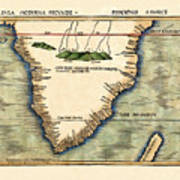 Map Of South Africa 1513 Art Print