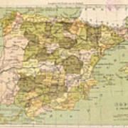 Map Of Spain Art Print