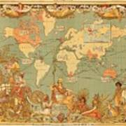 Map Of The Extent Of The British Empire 1886  Art Print