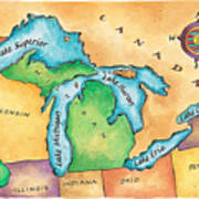 Map Of The Great Lakes Art Print