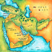Map Of The Middle East Art Print