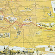Map Of The Old Oregon Trail Art Print