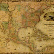 Map Of The United States 1849 Art Print