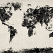 Map Of The World Map Abstract Print by Michael Tompsett