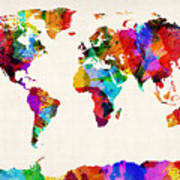 Map Of The World Map Abstract Painting Print by Michael Tompsett