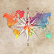 Map Of The World Wind Rose 7 Art Print