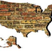 Map Of Usa And Wall. Art Print