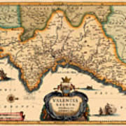 Map Of Valencia 1634 Art Print