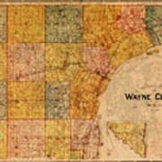 Map Of Wayne County Michigan Detroit Area Vintage Circa 1893 On Worn Distressed Canvas  Art Print