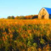 Maple Ridge Fall Barn Art Print