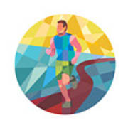 Marathon Runner In Action Circle Low Polygon Art Print