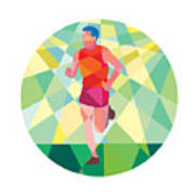 Marathon Runner Running Circle Low Polygon Art Print