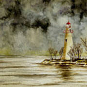 Marblehead Lighthouse In The Winter Art Print