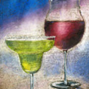 Margarita And A Glass Of Wine Art Print