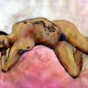 Nude Maria on Pink Sheets Art Print