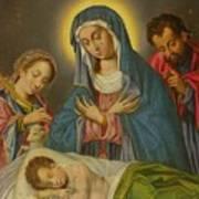Maria San Jose Y Santa Ines Contemplando Al Nino Art Print
