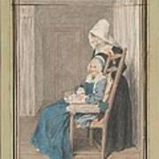 Marie Louise Petit At The Age Of 105, With Her Young Nurse Art Print