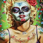 Marilyn Monroe Jfk Day Of The Dead  Art Print
