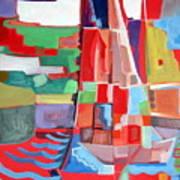 Marina Abstract  Acrylics Paintings Art Print by Therese AbouNader