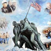 Marine Corps Art Academy Commemoration Oil Painting By Todd Krasovetz Art Print