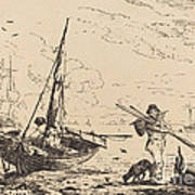 Marine: Fishing Boats On Shore, Man With Oars, Ship In Distance Art Print