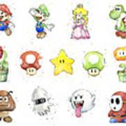 Mario Characters in Watercolor Art Print