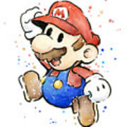 Mario Watercolor Fan Art Art Print