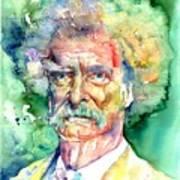 Mark Twain Watercolor Art Print