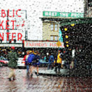 Market In Rain J005 Art Print